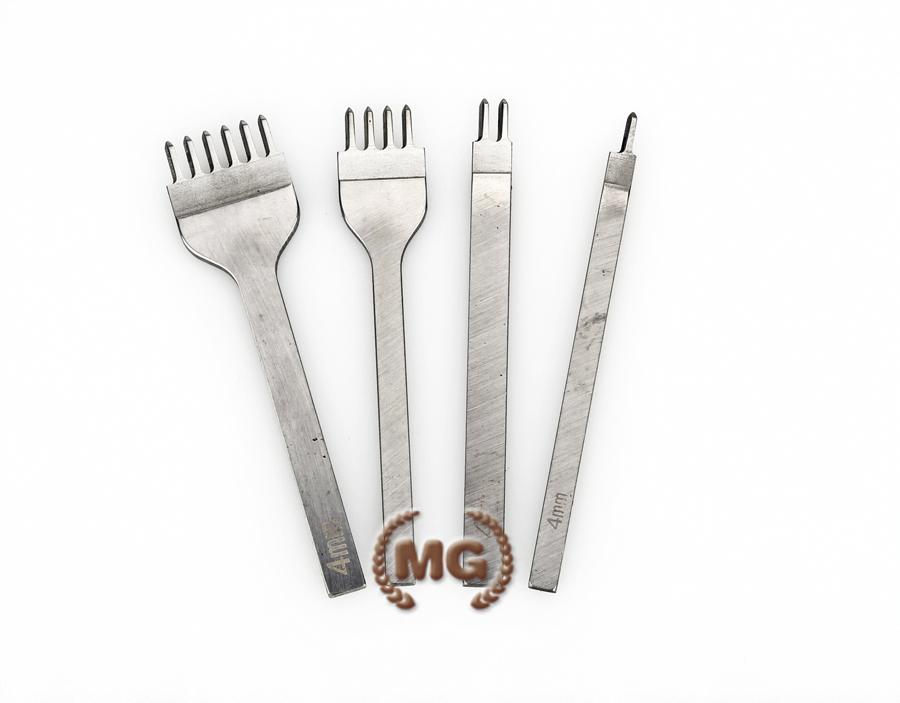Set da 4 forchette per forare il cuoio e la pelle, con diverso numero di punzoni