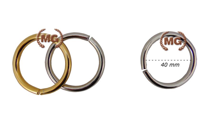 Anelli in metallo sezione da 3,5 mm per pelletteria sostegno per tracolle Diametro Nickel Colore 40 mm
