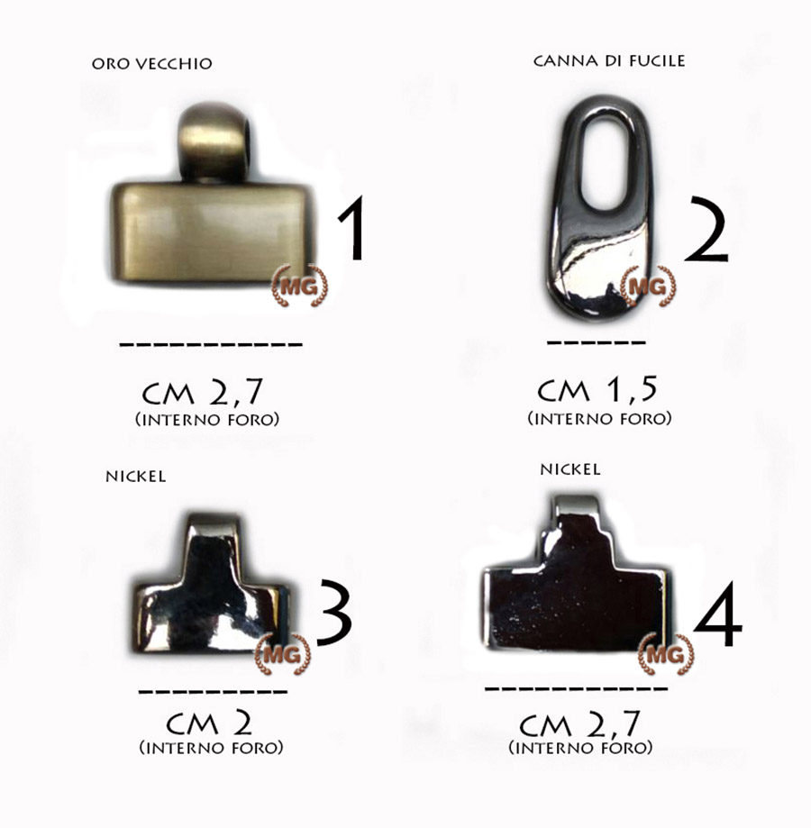 campana in metallo in vari colori per portachiavi in pelle o cuoio