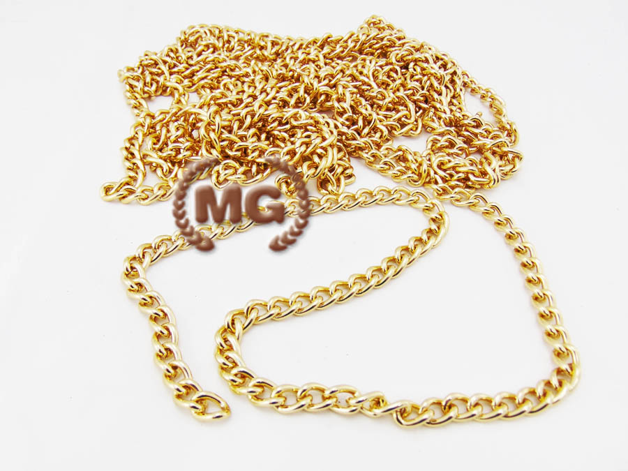 catena per borse e pelletteria, a metraggio, in alluminio dorato