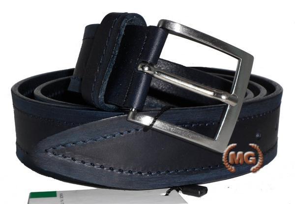 Cintura in cuoio con bordo cucito