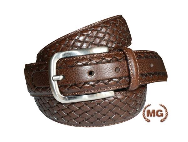 Cintura in pelle con treccia stampata