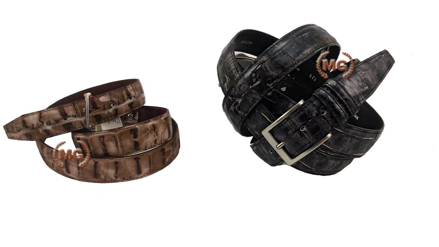cintura artigianale in cuoio e pelle doppio strato in stampa coccodrillo