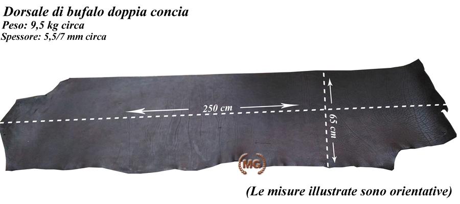 dorsale di bufalo doppia concia naturale