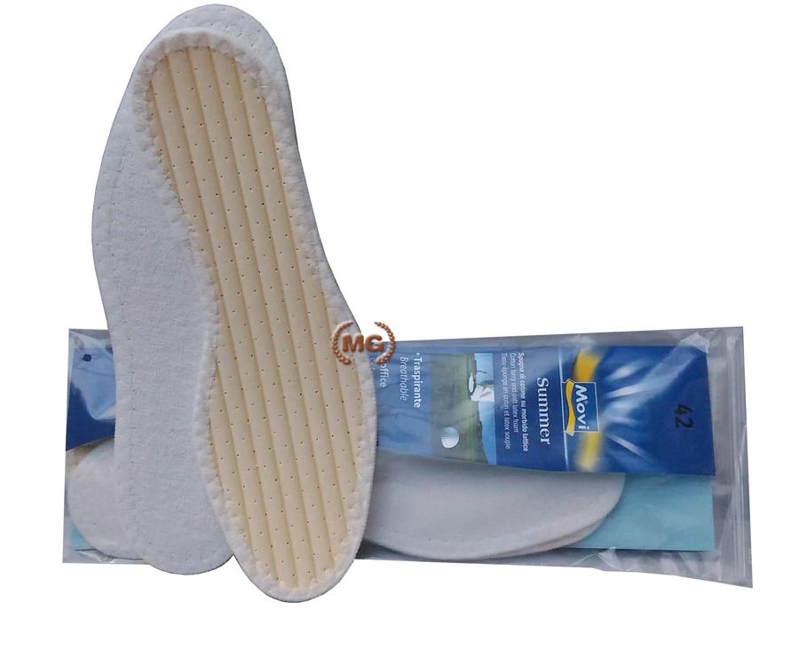 soletta in tela di cotone e lattice per mantenere il piede asciutto