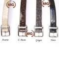 Cintura in pelle con stampa in struzzo