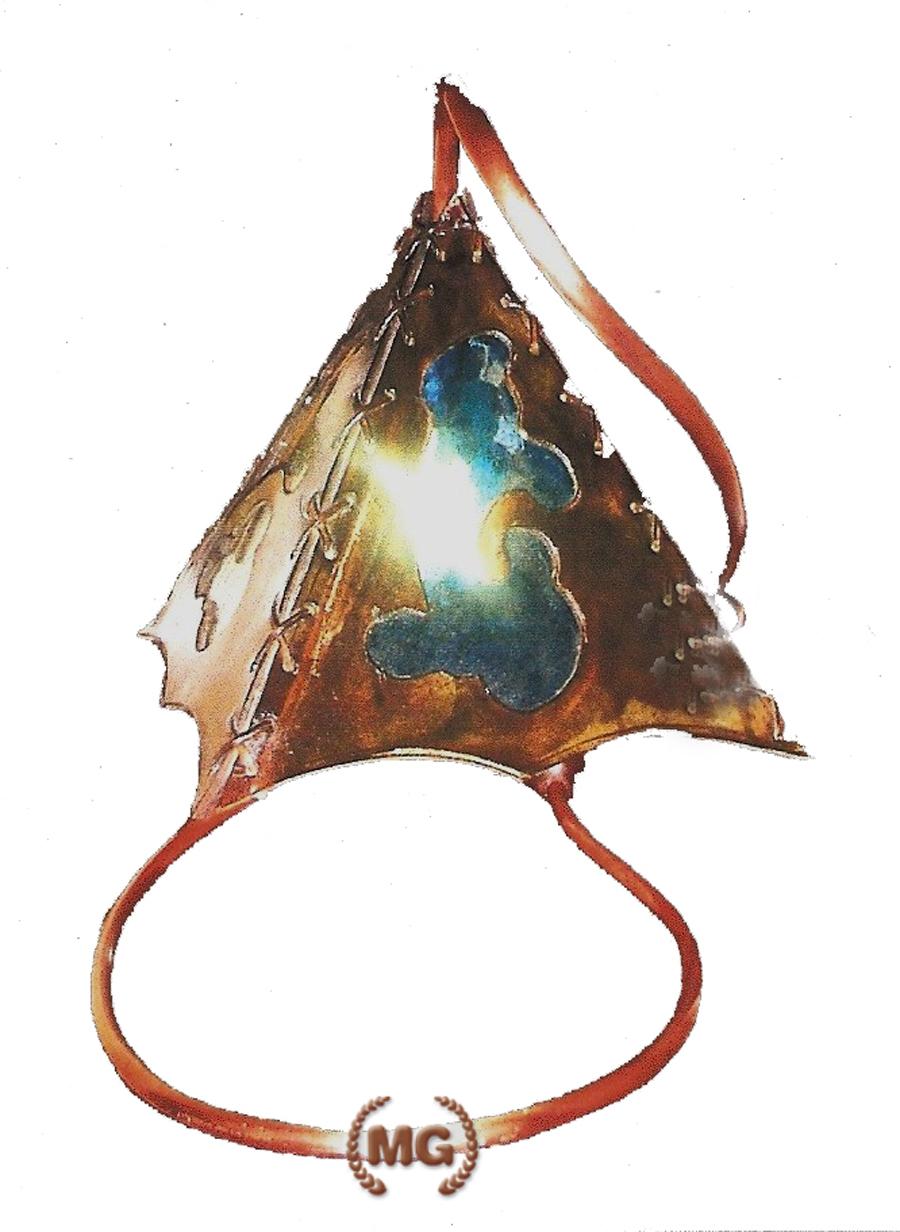 Lampada in cuoio da scrittoio dal designe giovane e vintage artigianale