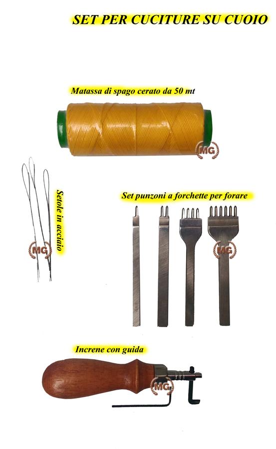 set completo per effettuare cuciture su cuoio, formato da spago, setole, increne e punzoni per fori